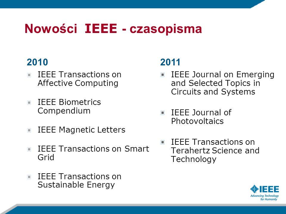 Nowości IEEE - czasopisma