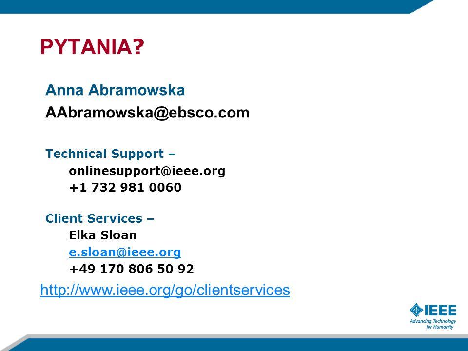 PYTANIA Anna Abramowska AAbramowska@ebsco.com