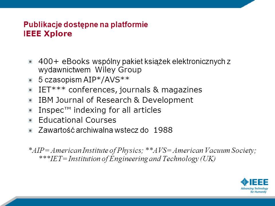 Publikacje dostępne na platformie IEEE Xplore