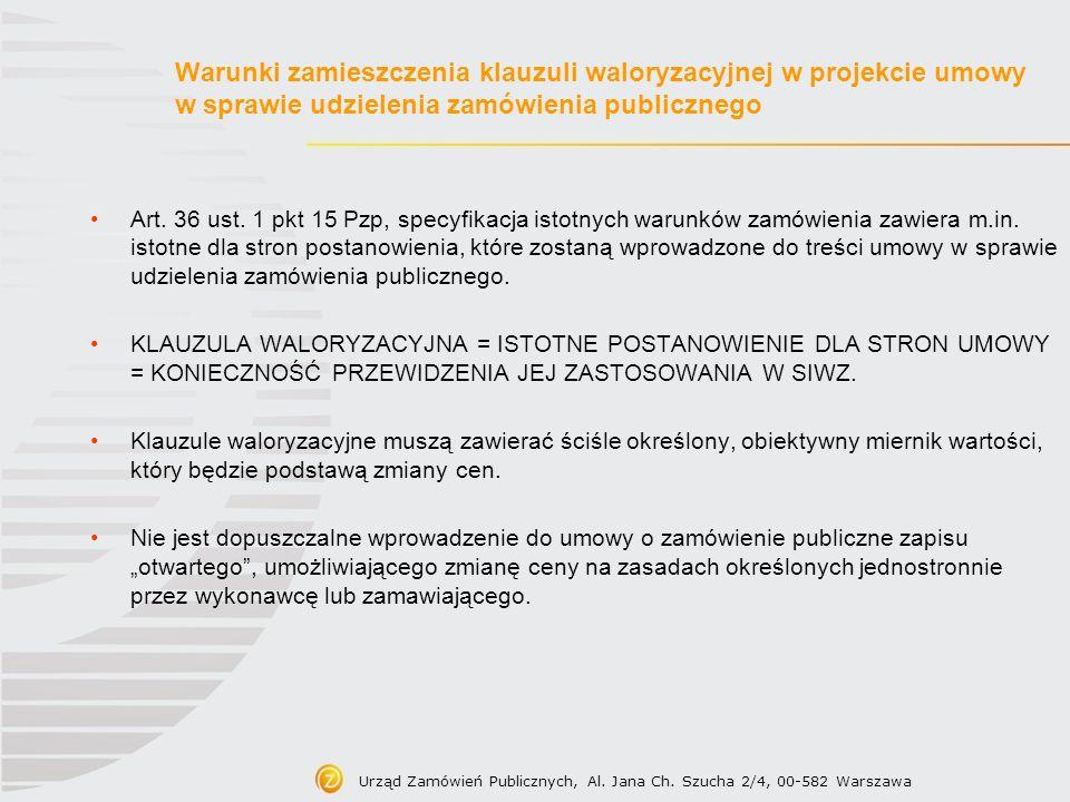 Warunki zamieszczenia klauzuli waloryzacyjnej w projekcie umowy w sprawie udzielenia zamówienia publicznego
