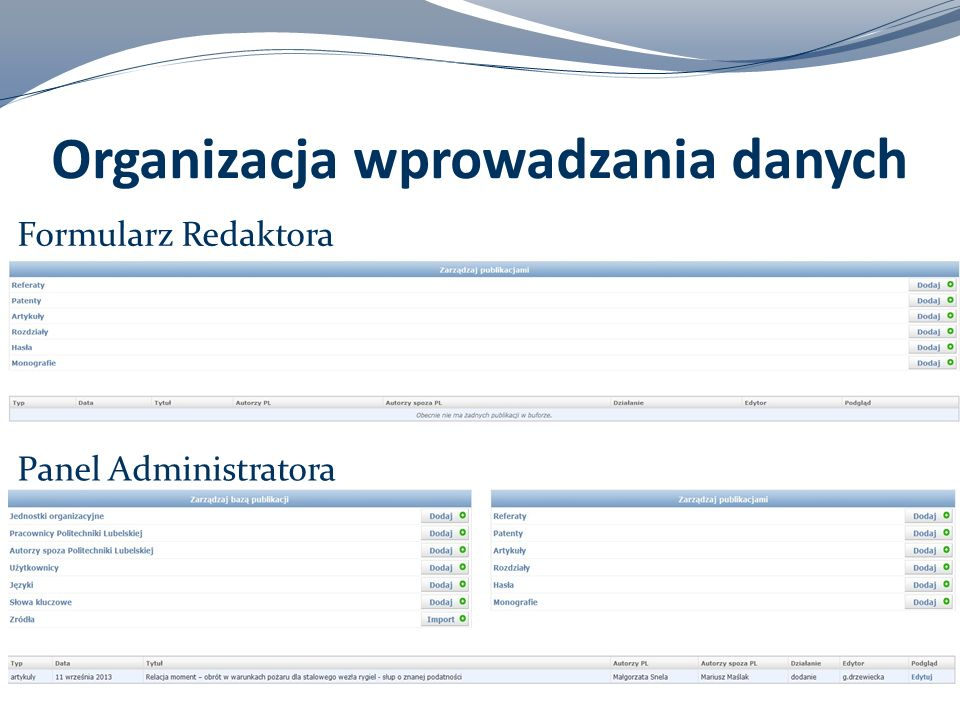 Organizacja wprowadzania danych
