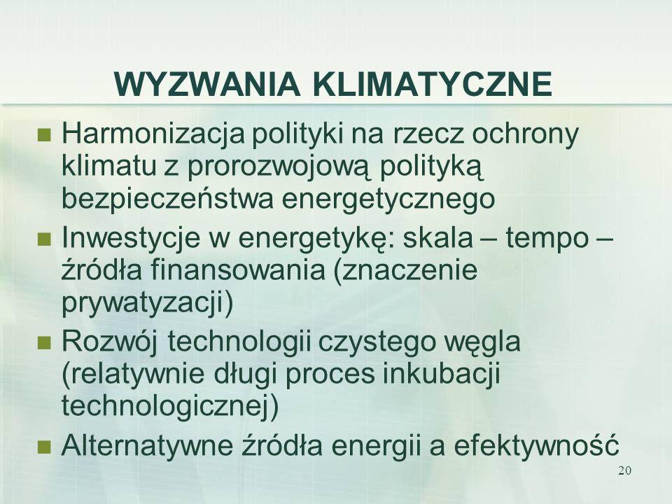 WYZWANIA KLIMATYCZNE Harmonizacja polityki na rzecz ochrony klimatu z prorozwojową polityką bezpieczeństwa energetycznego.