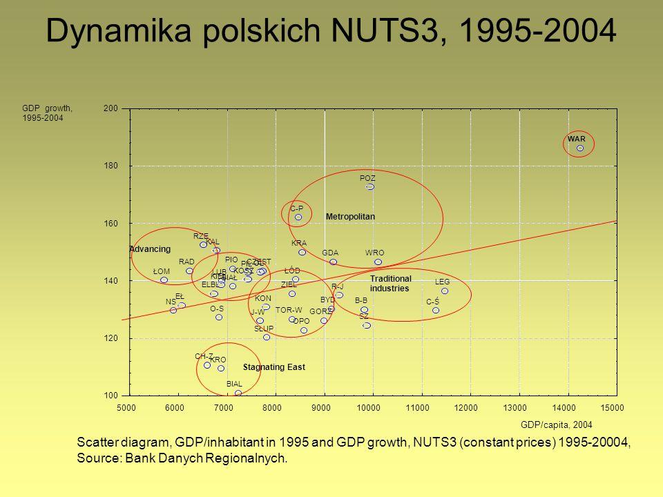 Dynamika polskich NUTS3, 1995-2004