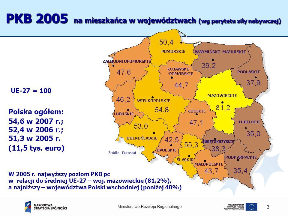 PKB 2005 na mieszkańca w województwach (wg parytetu siły nabywczej)