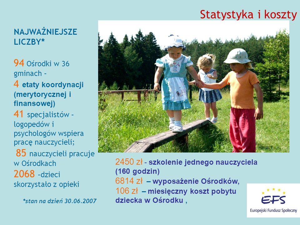 Statystyka i koszty 94 Ośrodki w 36 gminach –
