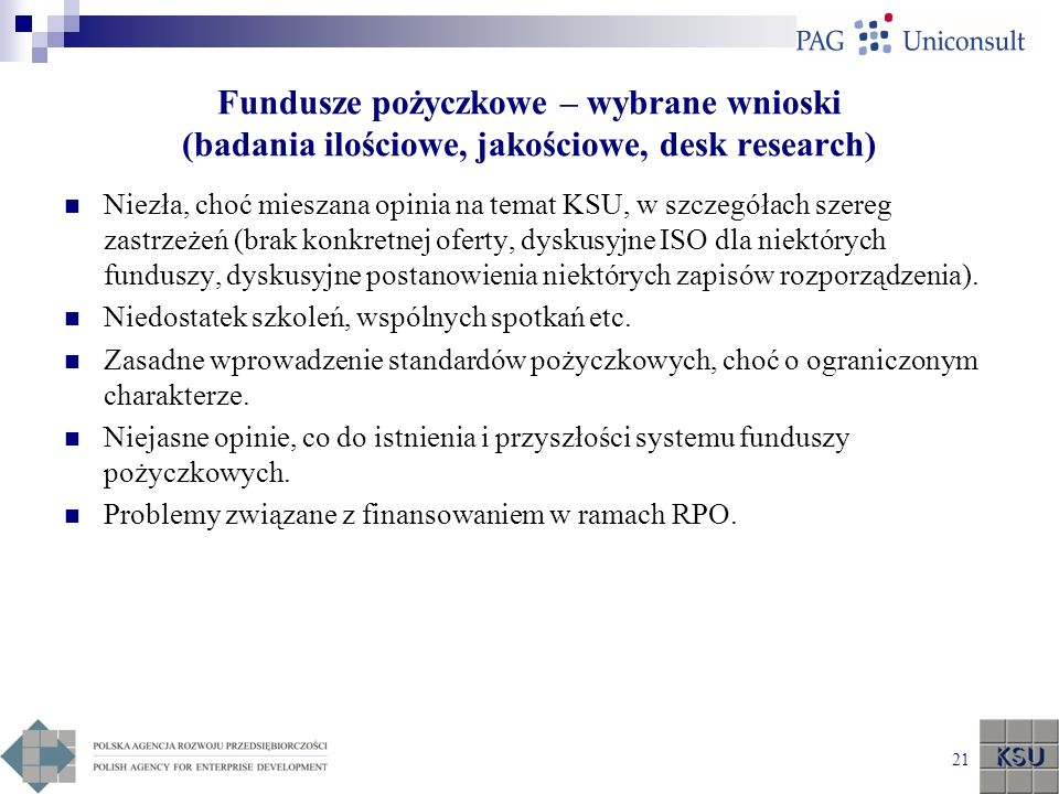 Fundusze pożyczkowe – wybrane wnioski (badania ilościowe, jakościowe, desk research)