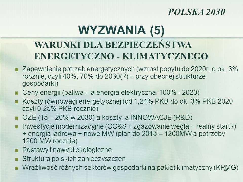 WYZWANIA (5) POLSKA 2030 WARUNKI DLA BEZPIECZEŃSTWA