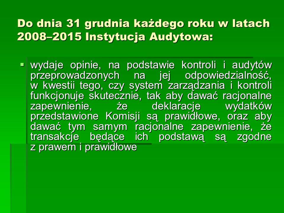 Do dnia 31 grudnia każdego roku w latach 2008–2015 Instytucja Audytowa: