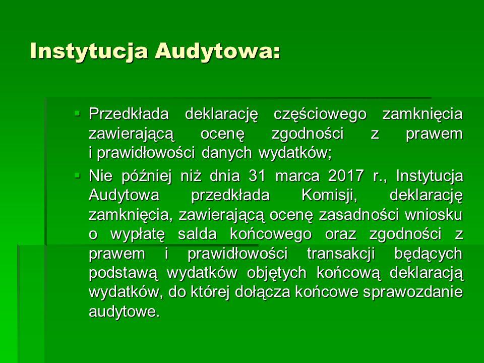 Instytucja Audytowa: Przedkłada deklarację częściowego zamknięcia zawierającą ocenę zgodności z prawem i prawidłowości danych wydatków;