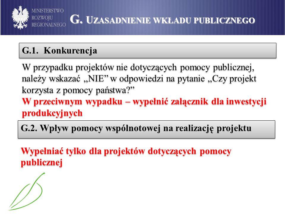G. Uzasadnienie wkładu publicznego