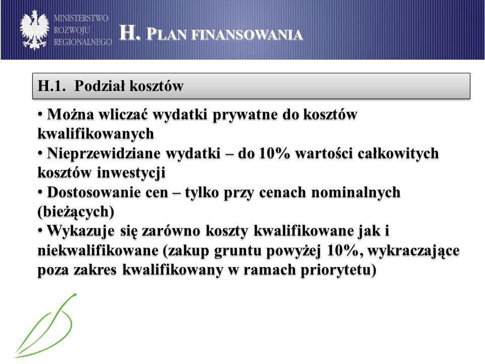 H. Plan finansowania H.1. Podział kosztów