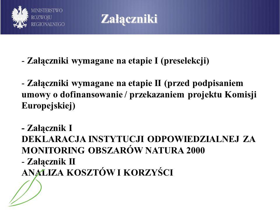 Załączniki Załączniki wymagane na etapie I (preselekcji)