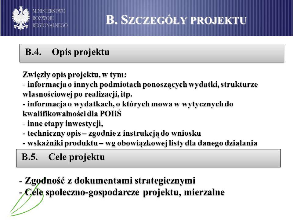 B. Szczegóły projektu B.4. Opis projektu B.5. Cele projektu