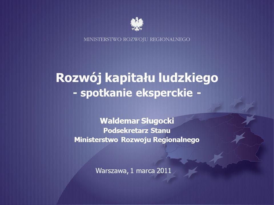 Rozwój kapitału ludzkiego - spotkanie eksperckie - Waldemar Sługocki Podsekretarz Stanu Ministerstwo Rozwoju Regionalnego