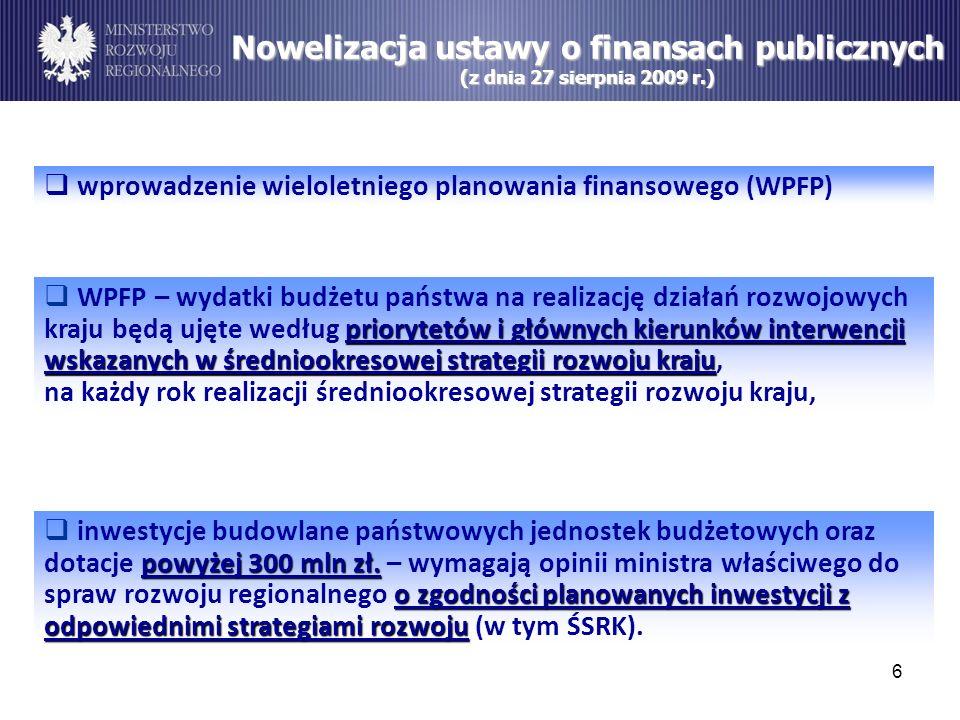 Nowelizacja ustawy o finansach publicznych (z dnia 27 sierpnia 2009 r