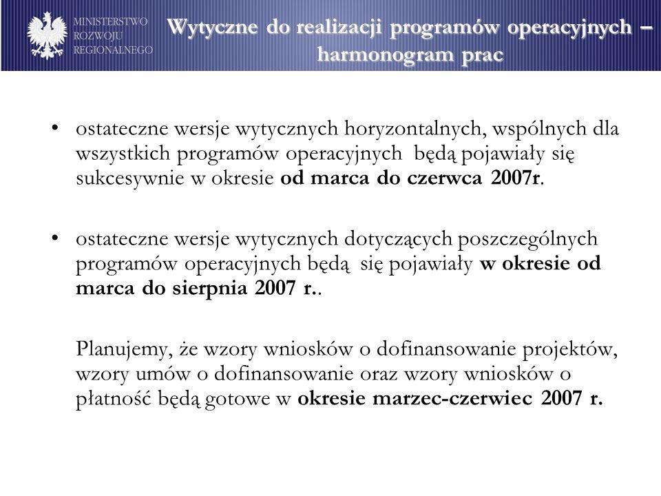 Wytyczne do realizacji programów operacyjnych –