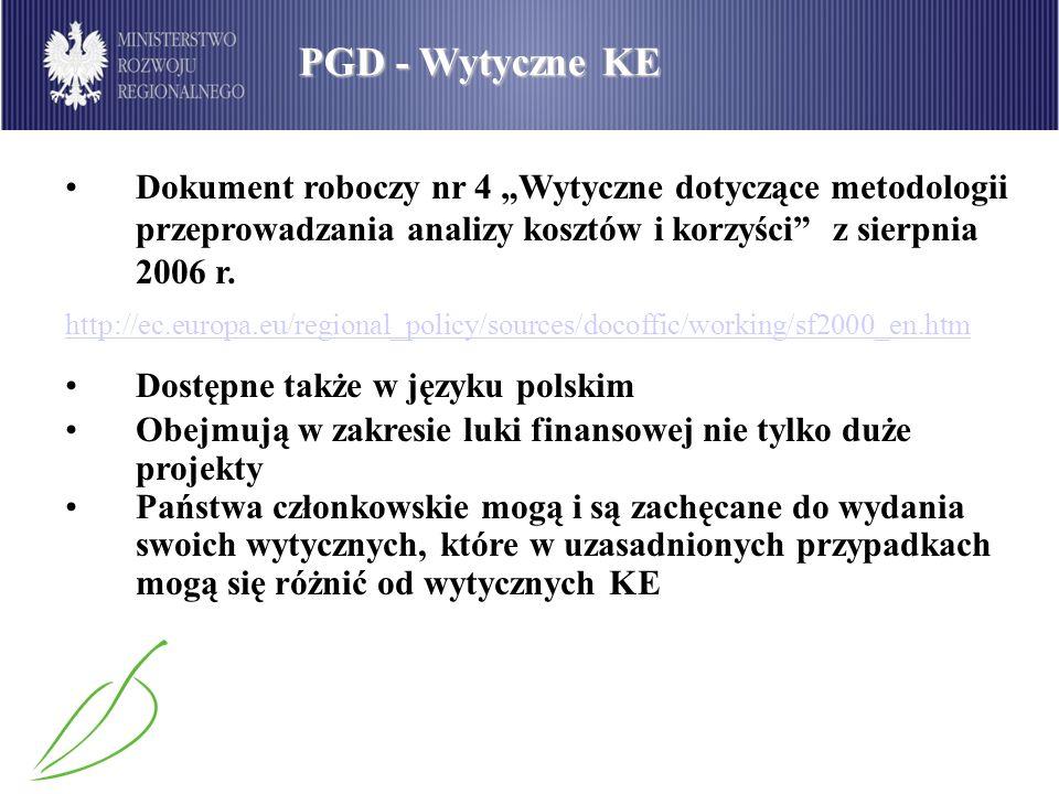 """PGD - Wytyczne KE Dokument roboczy nr 4 """"Wytyczne dotyczące metodologii przeprowadzania analizy kosztów i korzyści z sierpnia 2006 r."""
