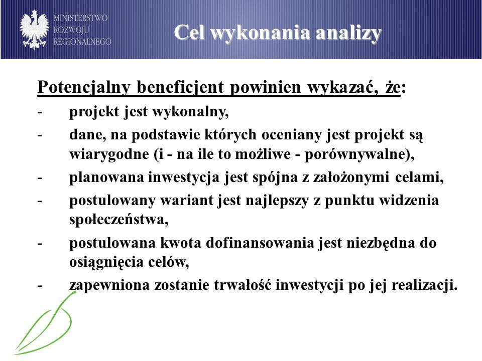 Cel wykonania analizy Potencjalny beneficjent powinien wykazać, że: