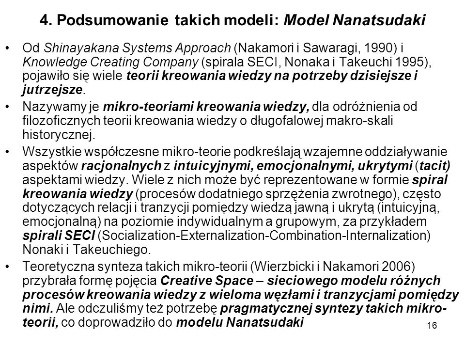 4. Podsumowanie takich modeli: Model Nanatsudaki