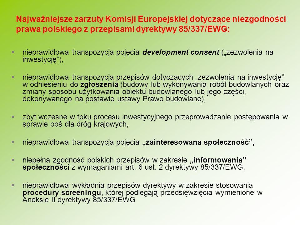 Najważniejsze zarzuty Komisji Europejskiej dotyczące niezgodności prawa polskiego z przepisami dyrektywy 85/337/EWG: