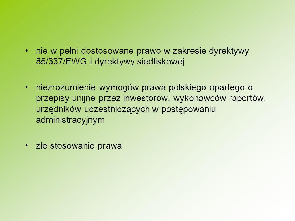 nie w pełni dostosowane prawo w zakresie dyrektywy 85/337/EWG i dyrektywy siedliskowej