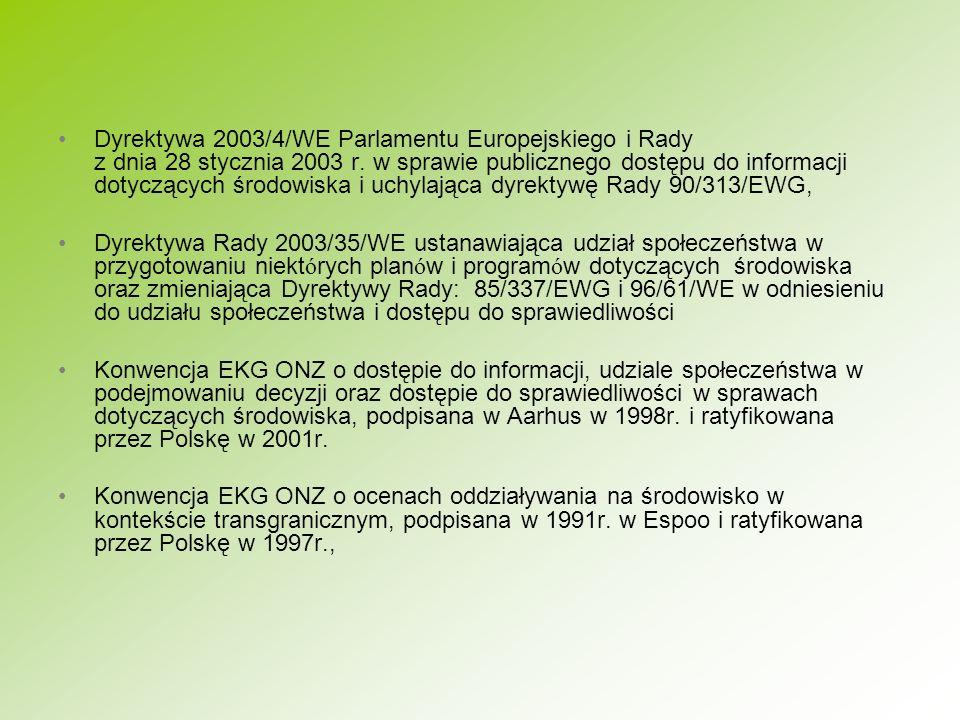 Dyrektywa 2003/4/WE Parlamentu Europejskiego i Rady z dnia 28 stycznia 2003 r. w sprawie publicznego dostępu do informacji dotyczących środowiska i uchylająca dyrektywę Rady 90/313/EWG,