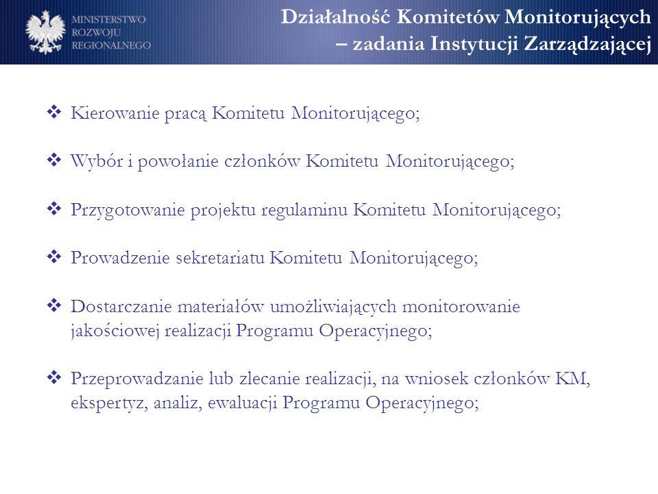 Działalność Komitetów Monitorujących – zadania Instytucji Zarządzającej