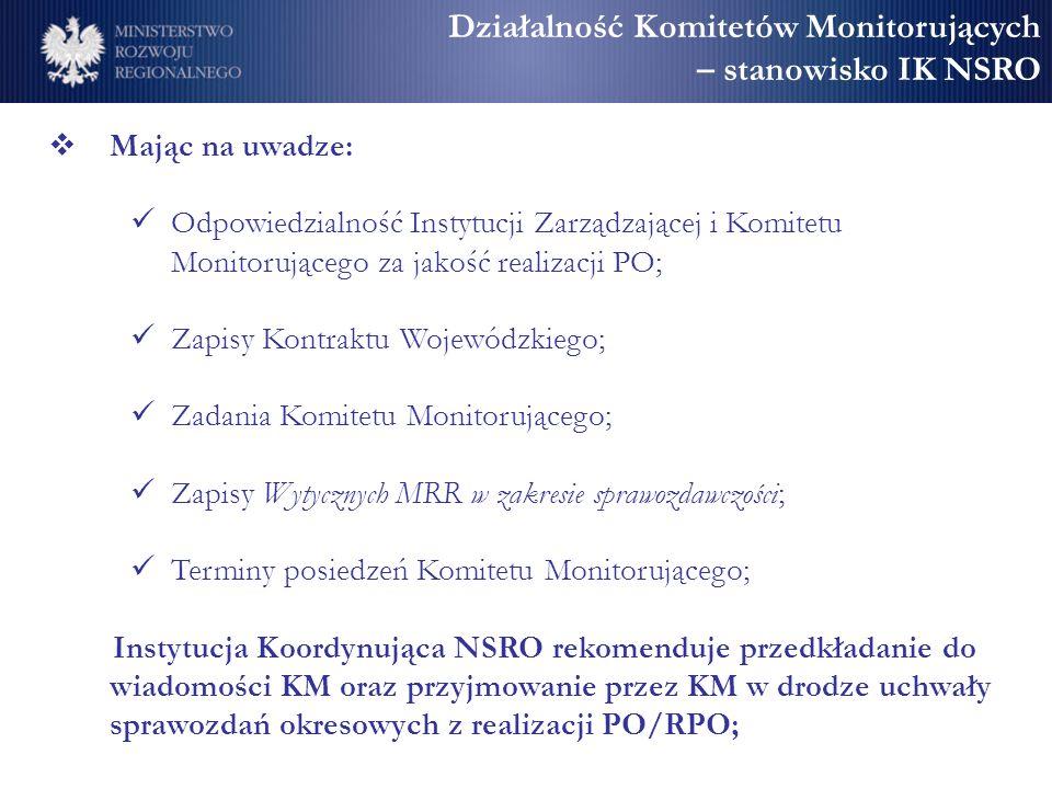 Działalność Komitetów Monitorujących – stanowisko IK NSRO