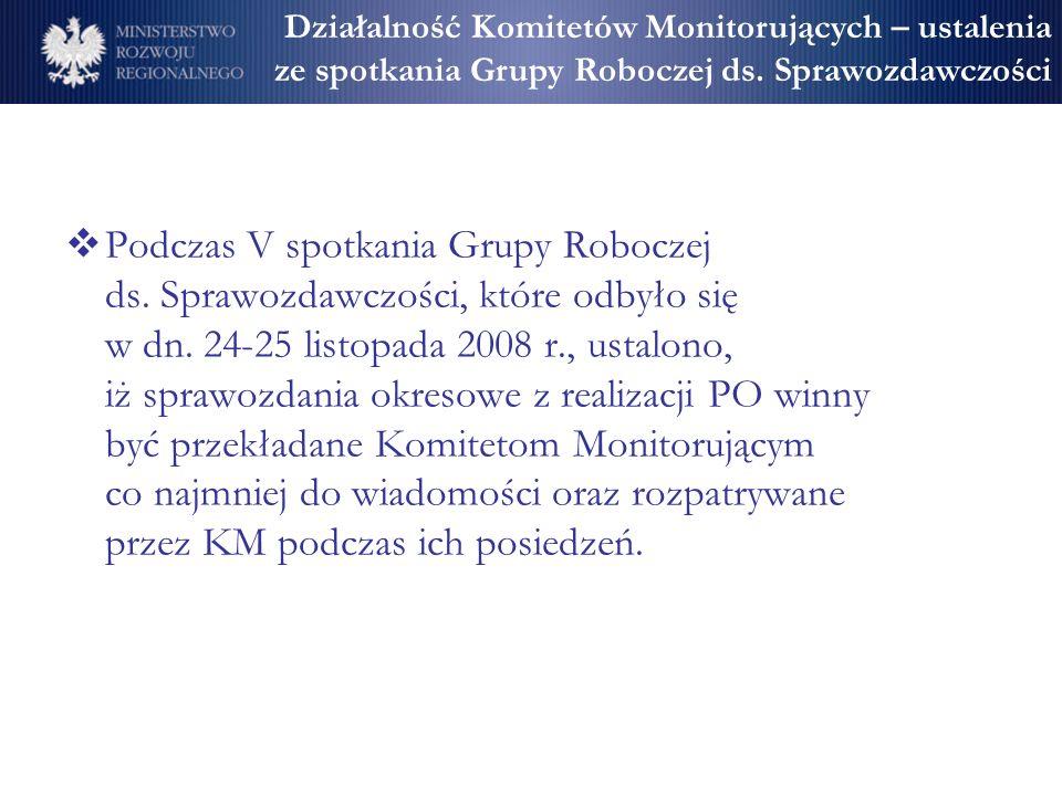 Działalność Komitetów Monitorujących – ustalenia ze spotkania Grupy Roboczej ds. Sprawozdawczości