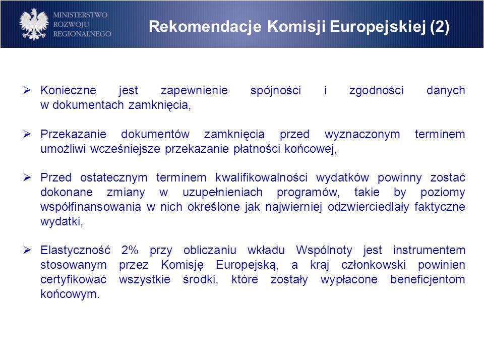 Rekomendacje Komisji Europejskiej (2)