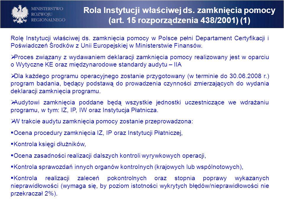 Rola Instytucji właściwej ds. zamknięcia pomocy (art