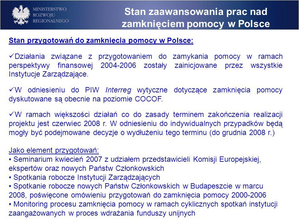 Stan zaawansowania prac nad zamknięciem pomocy w Polsce