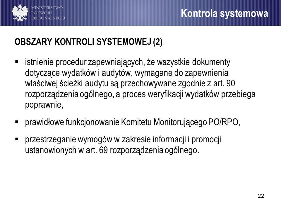 Kontrola systemowa OBSZARY KONTROLI SYSTEMOWEJ (2)