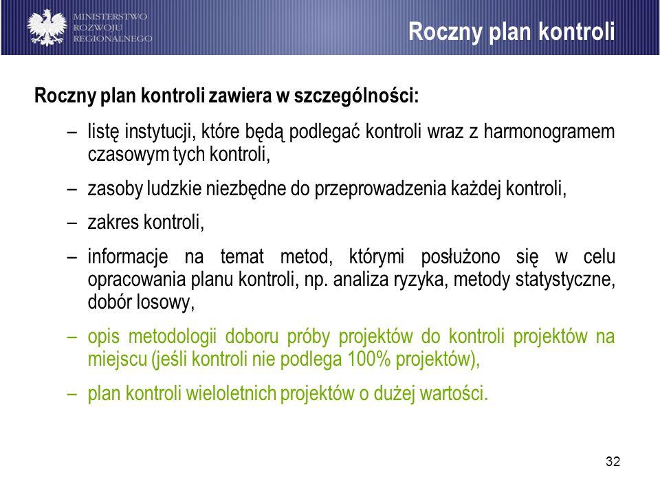 Roczny plan kontroli Roczny plan kontroli zawiera w szczególności: