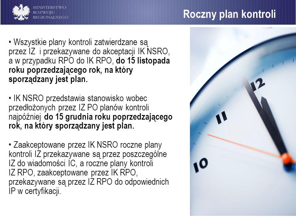 Roczny plan kontroli Wszystkie plany kontroli zatwierdzane są