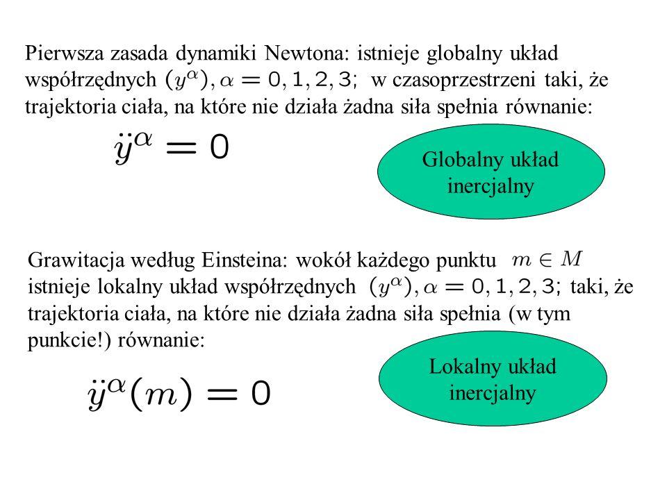 Pierwsza zasada dynamiki Newtona: istnieje globalny układ współrzędnych w czasoprzestrzeni taki, że trajektoria ciała, na które nie działa żadna siła spełnia równanie: