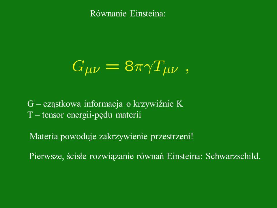 Równanie Einsteina: G – cząstkowa informacja o krzywiźnie K. T – tensor energii-pędu materii. Materia powoduje zakrzywienie przestrzeni!