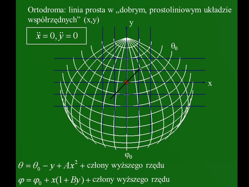 """q0 0. Ortodroma: linia prosta w """"dobrym, prostoliniowym układzie współrzędnych (x,y) x."""