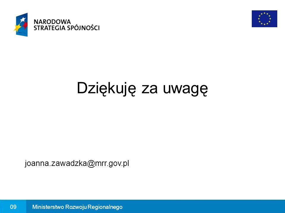 Dziękuję za uwagę joanna.zawadzka@mrr.gov.pl 09