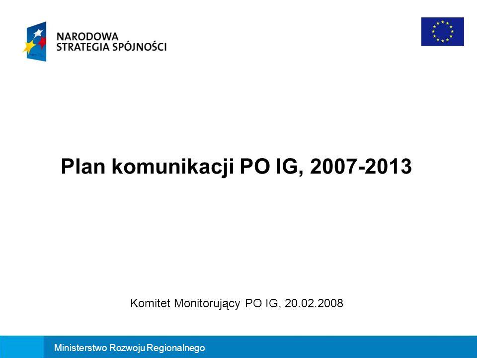 Plan komunikacji PO IG, 2007-2013