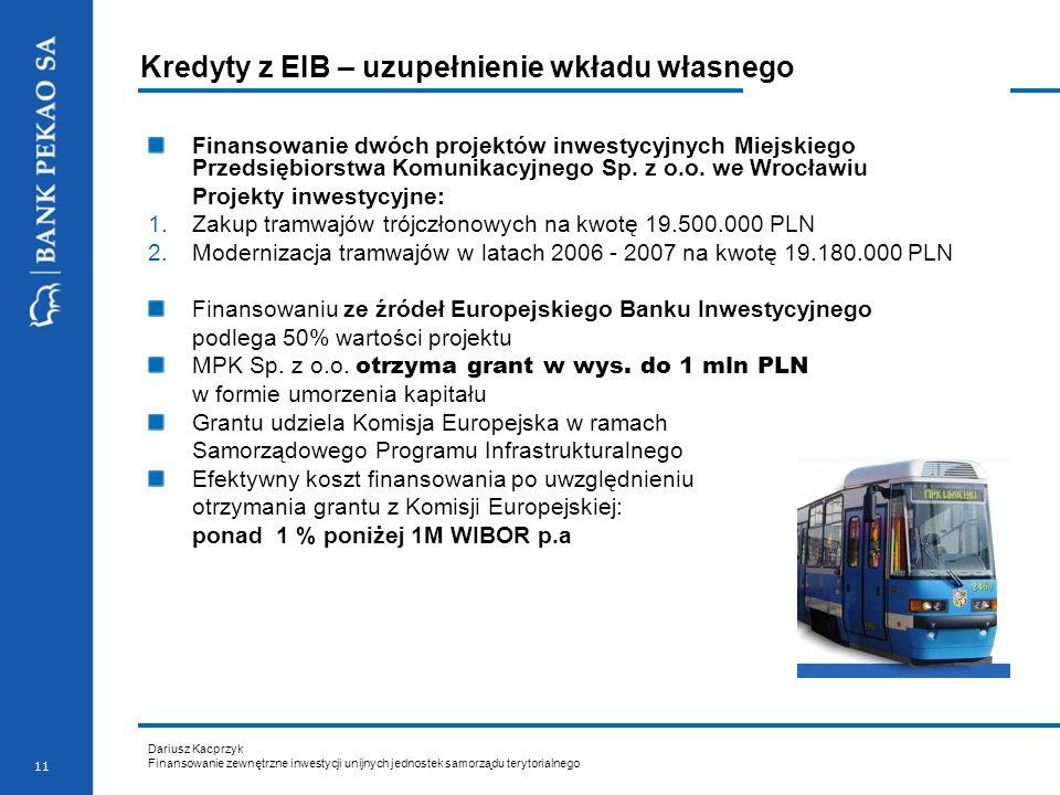 Kredyty z EIB – uzupełnienie wkładu własnego
