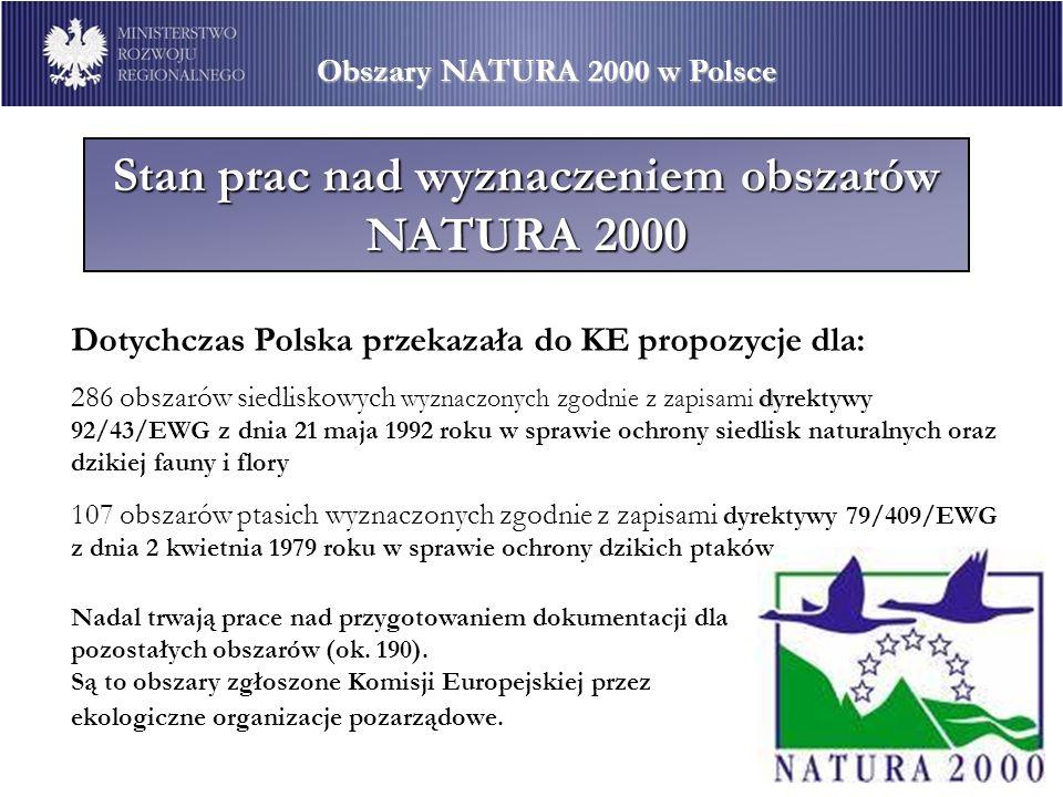 Stan prac nad wyznaczeniem obszarów NATURA 2000