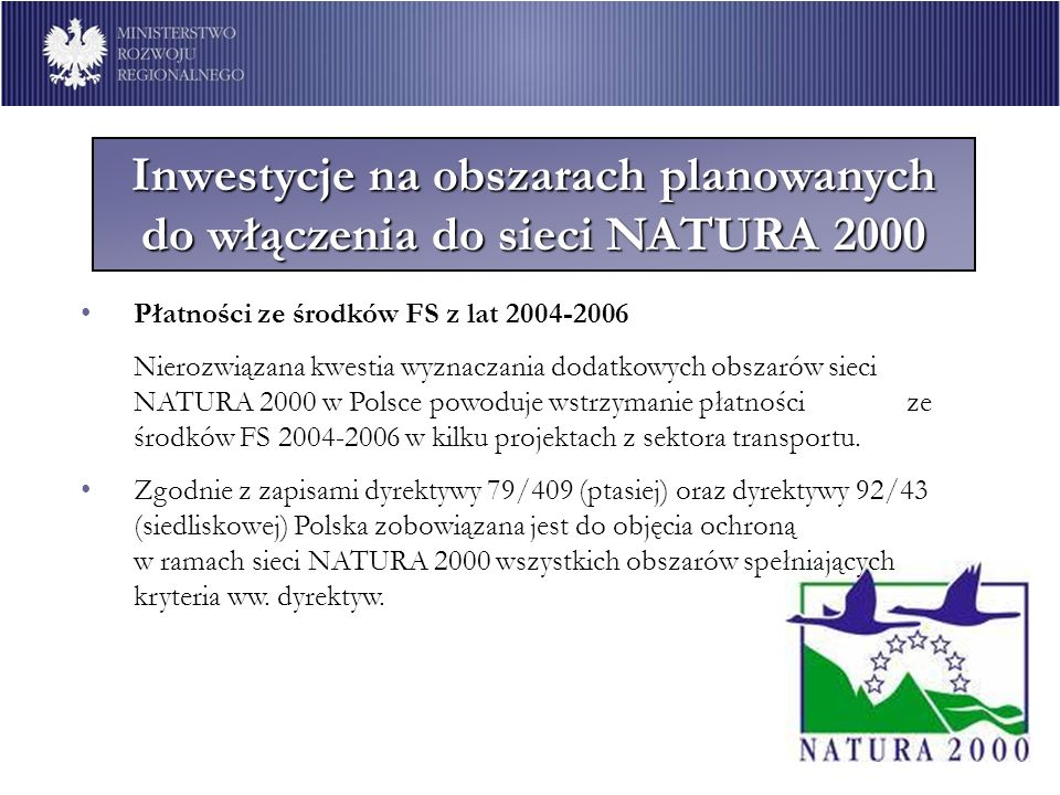 Inwestycje na obszarach planowanych do włączenia do sieci NATURA 2000