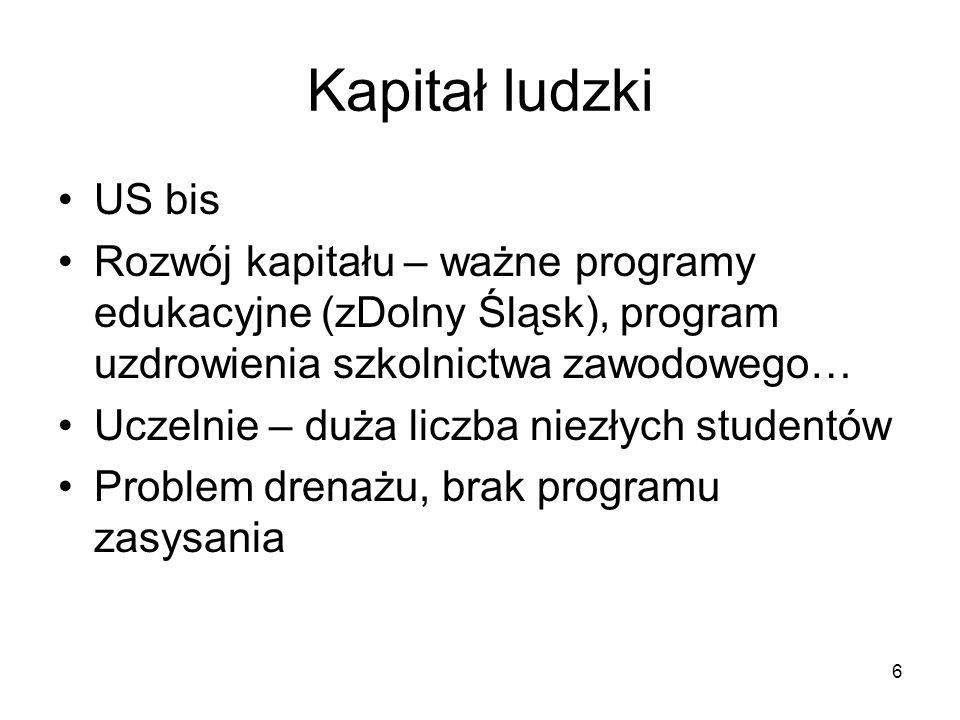 Kapitał ludzki US bis. Rozwój kapitału – ważne programy edukacyjne (zDolny Śląsk), program uzdrowienia szkolnictwa zawodowego…