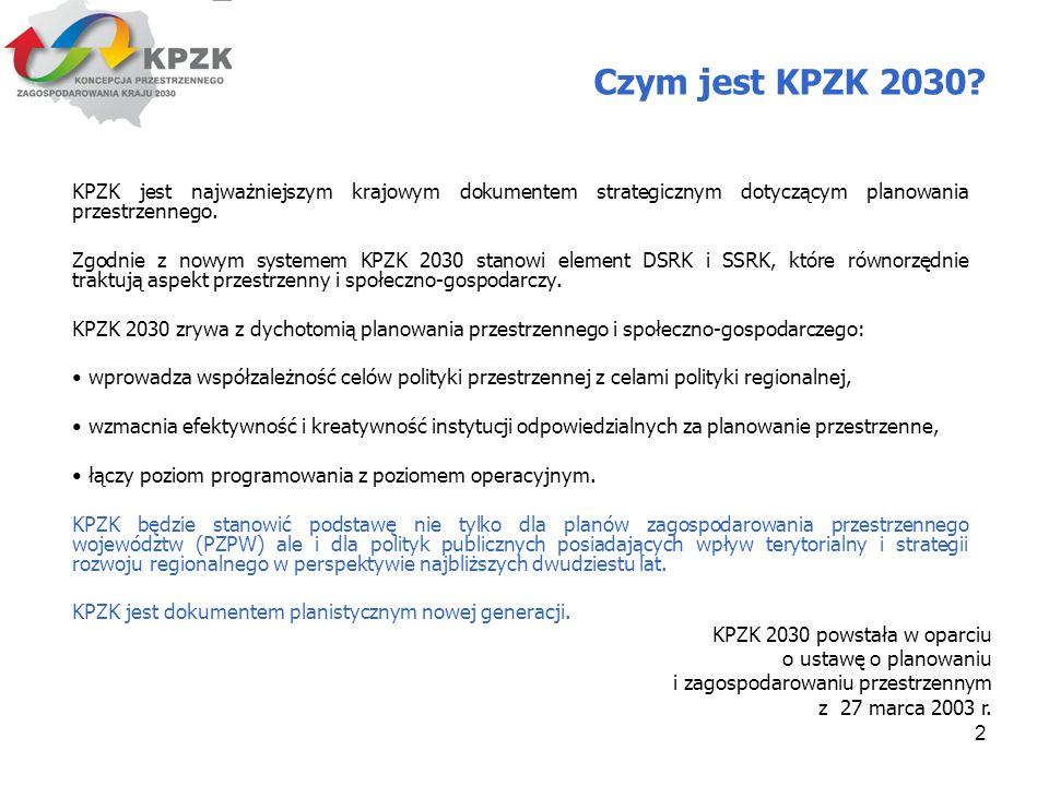 Czym jest KPZK 2030 KPZK jest najważniejszym krajowym dokumentem strategicznym dotyczącym planowania przestrzennego.