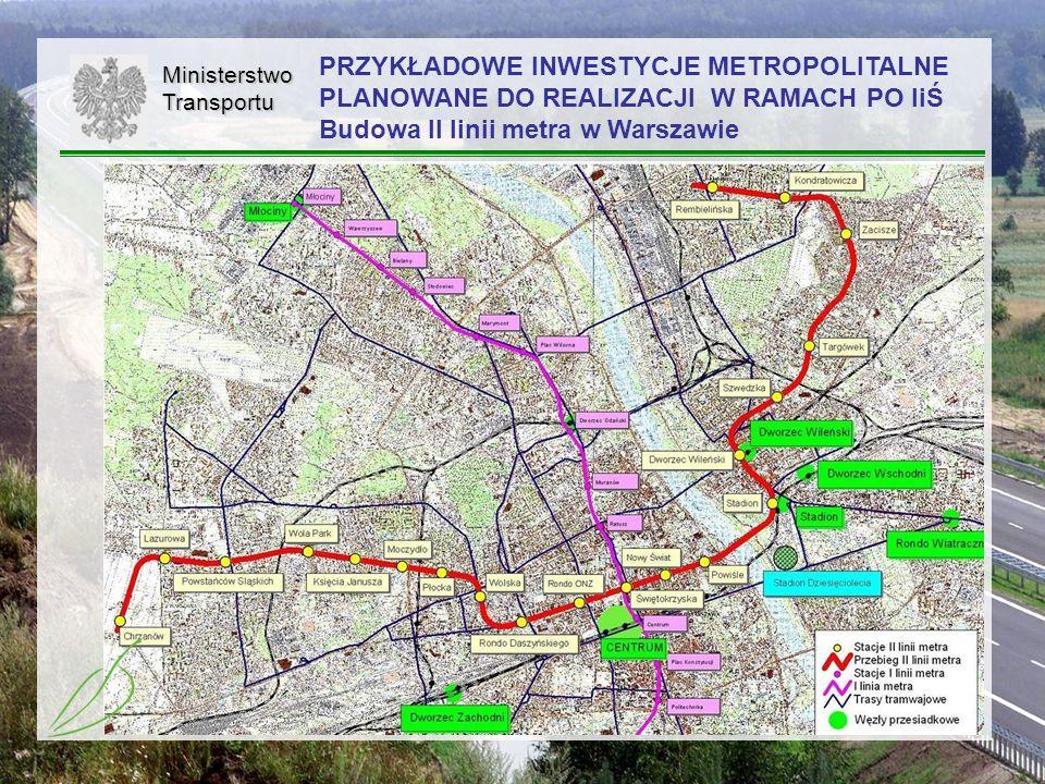 PRZYKŁADOWE INWESTYCJE METROPOLITALNE PLANOWANE DO REALIZACJI W RAMACH PO IiŚ Budowa II linii metra w Warszawie
