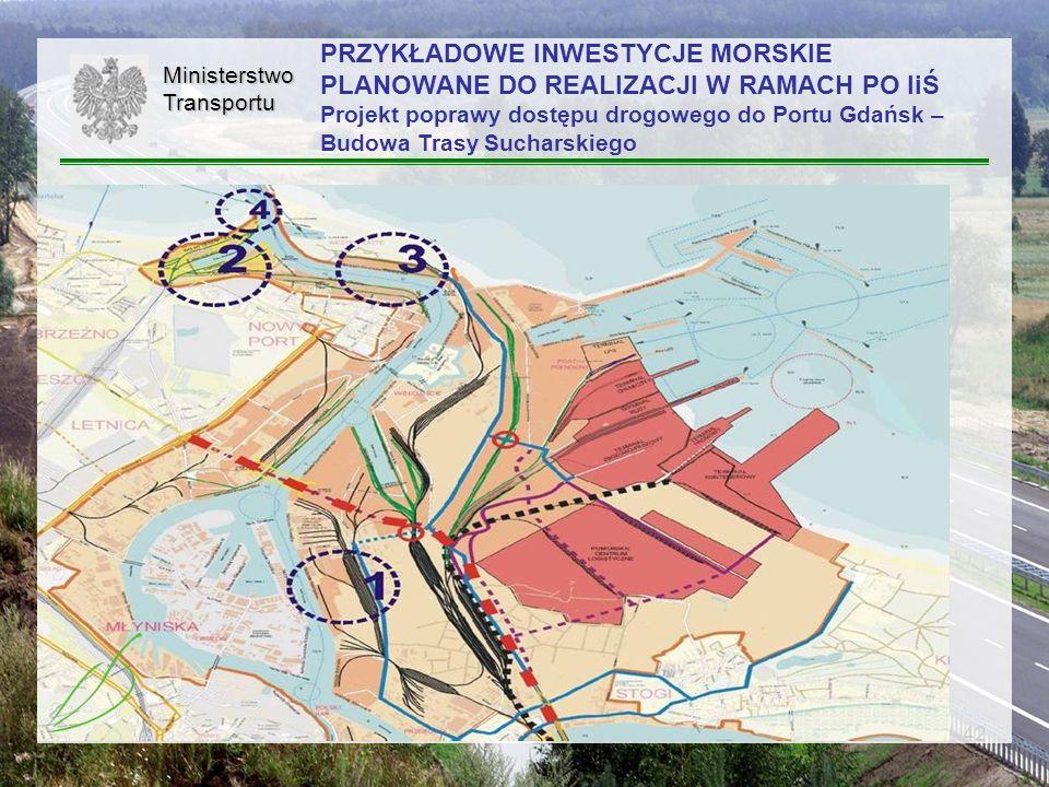 PRZYKŁADOWE INWESTYCJE MORSKIE PLANOWANE DO REALIZACJI W RAMACH PO IiŚ Projekt poprawy dostępu drogowego do Portu Gdańsk – Budowa Trasy Sucharskiego