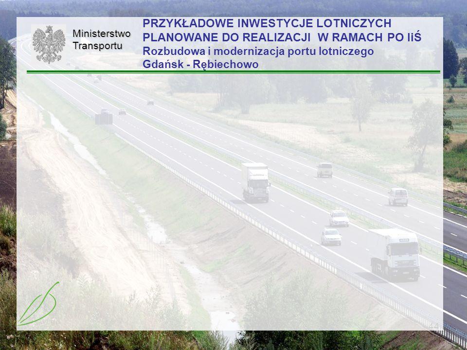 PRZYKŁADOWE INWESTYCJE LOTNICZYCH PLANOWANE DO REALIZACJI W RAMACH PO IiŚ Rozbudowa i modernizacja portu lotniczego Gdańsk - Rębiechowo