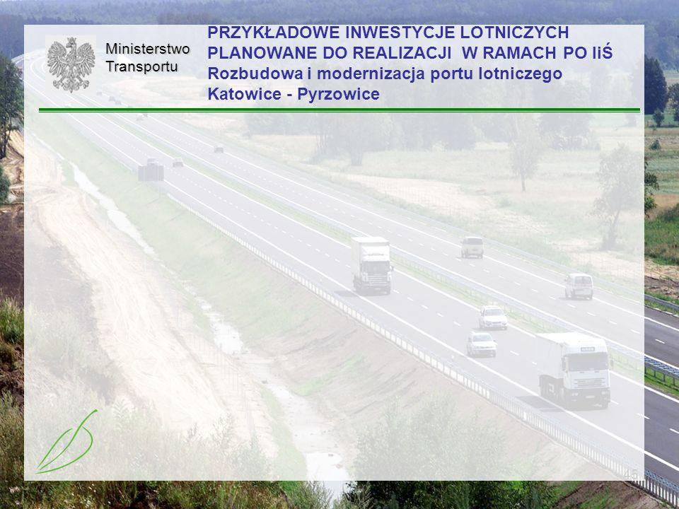 PRZYKŁADOWE INWESTYCJE LOTNICZYCH PLANOWANE DO REALIZACJI W RAMACH PO IiŚ Rozbudowa i modernizacja portu lotniczego Katowice - Pyrzowice