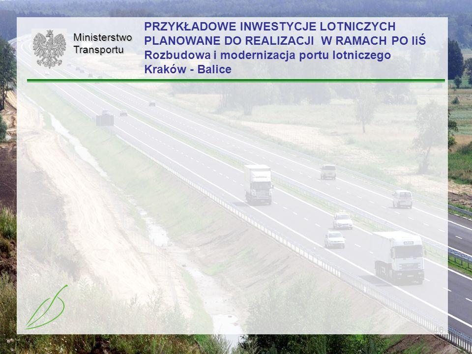 PRZYKŁADOWE INWESTYCJE LOTNICZYCH PLANOWANE DO REALIZACJI W RAMACH PO IiŚ Rozbudowa i modernizacja portu lotniczego Kraków - Balice